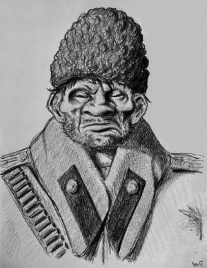 Ruský válečný zajatec. Kresba Wilhelma Raaba. FOTO: VHÚ