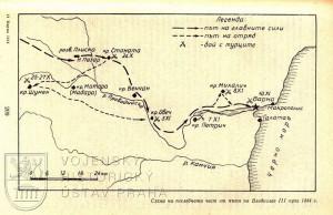 Plánek tažení a bojů na podzim 1444.