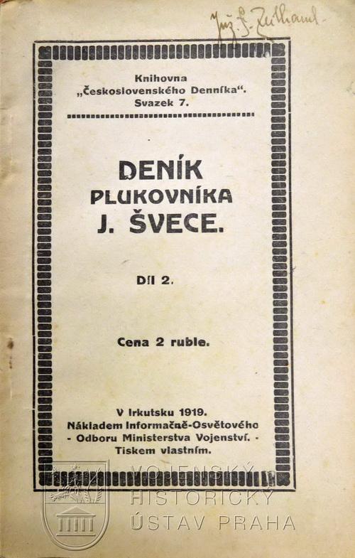 První vydání Deníku plukovníka J. Švece