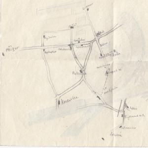 Mapka okolí Morávky, kterou gestapo našlo u Marie Pětrošové. FOTO: MZA