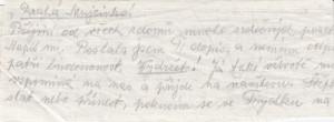 Část motáku od matky, který donesla Marii Pětrošové do vězení v Moravské Ostravě její sestra Emílie. FOTO: MZA