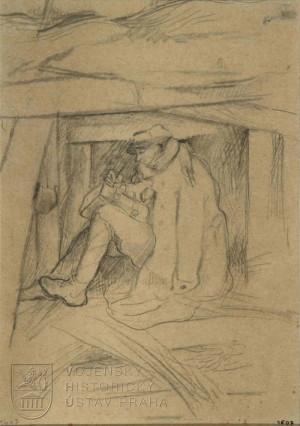Otto Gutfreund, V zákopu, kolem 1916
