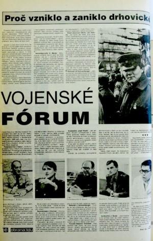 Článek o založení drnovického vojenského fóra (Týdeník Obrana lidu 13. 1. 1990)