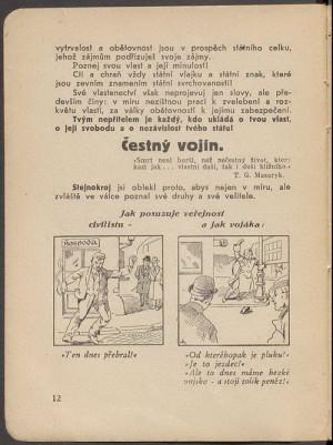 Ukázka názorných ilustrací k chování vojáků.