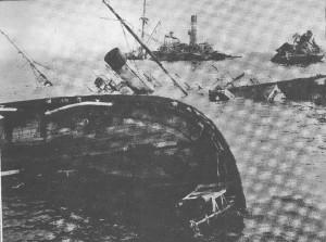 Potopené lodě v tobruckém přístavu