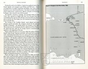 Mapka Ruprechtovy výpravy do Karibiku roku 1652 a ukázka textu.