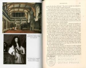 Ukázka textu a Ruprechtův portrét jako prvního guvernéra Společnosti Hudsonova zálivu.