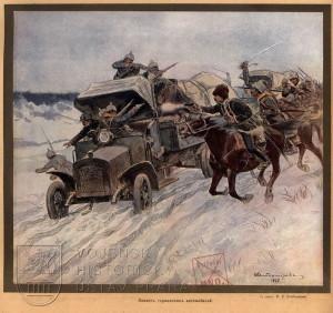 Útok ruského jezdectva na německý automobil.