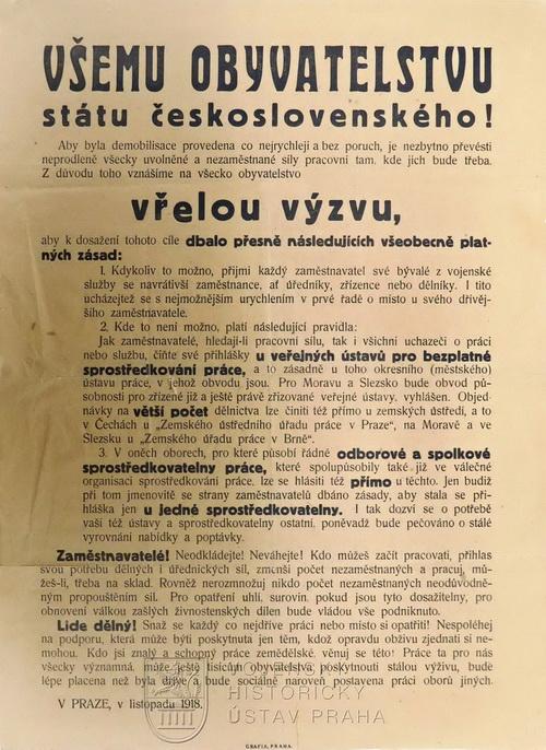 Výzva k nástupu demobilizovaných mužů do zaměstnání