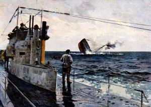 Posádka německé ponorky sleduje potápějící se loď