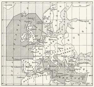 Na mapě, kterou uveřejnil pařížský L`Illustration, značí vyšrafované oblasti válečné zóny, v nichž Německo po vyhlášení neomezené ponorkové války bez varování útočilo na jakákoli plavidla