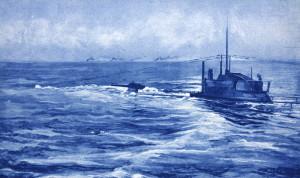 Německá ponorka připravující se k útoku na konvoj plující na obzoru. Organizování konvojů s eskortou platilo za nejúčinnější ochranu před útoky ponorek a od druhé poloviny roku 1917 výrazně přispělo ke snížení ztrát