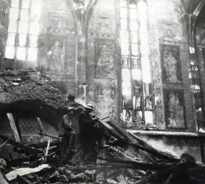 Následky náletu na Prahu 14. února 1945 - škody v Emauzském klášteře