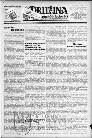Titulní strana čísla z 24. září 1921 oznamující zastavení vydávání novin.