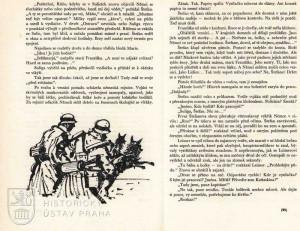 Ukázka textu s perokresbou německého zátahu na výsadkáře.