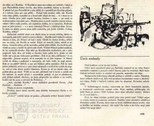 Ukázka textu s perokresbou s motivy bojů na pražských barikádách.