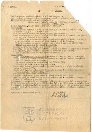 Rozkaz o provedení průzkumu, 1945