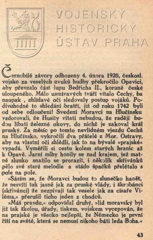 Začátek textu Po okraji Hlučínska r. 1920 s popisem obsazení regionu čs. vojskem.