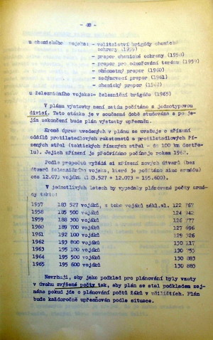 Návrh plánovaných mírových počtů ČSLA v letech 1957 – 1965. (VÚA-VHA)