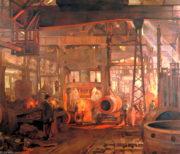 Anna Airy: Výroba dělostřeleckých hlavní v továrně Armstrong-Whitworth, Openshaw, olej na plátně, 1918. FOTO: © IWM