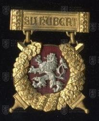 Pamětní odznak účastníků jízdy sv. Huberta Válečné školy – Praha (1932)
