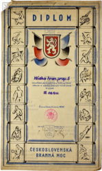 Diplom za III. místo hlídce v lyžařsko-střeleckých závodech, 1935