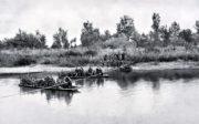 Obsazování drinských ostrovů srbskými jednotkami před první rakousko-uherskou ofenzivou v srpnu 1914.