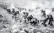 Bodákový útok srbských jednotek během krvavých bojů o horu Kajmakčalan 30. září 1916.