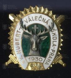Pamětní odznak účastníků jízdy sv. Huberta Válečné školy – Praha (1930)