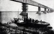 Klíčový Alexandrovský most přes Volhu u Batrak.