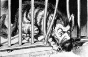 """Rumunské vyhlášení války Rakousku-Uhersku z 27. srpna 1916 komentoval jeden z vídeňských humoristických listů karikaturou, na níž rumunského krále Ferdinanda I. ztvárnil jako zákeřnou hyenu. Zatímco německý císař Vilém II. svého příbuzného nechal za zradu vymazat z hohenzollernských rodových záznamů, rumunská společnost však jeho postoj odměnila přízviskem """"Věrný"""". (VHÚ Praha)"""