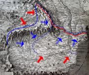 Pohledová mapa Rumunska názorně zachycuje nejen terénní ráz nového bojiště, ale i průběh operací. Modrá linie táhnoucí se cípem Sedmihradska označuje nejzazší postup rumunské ofenzívy k 18. září 1916. Následný protiútok Ústředních mocností rumunské vojsko do konce roku zatlačil až za červeně vyznačenou linii. (VHÚ Praha)
