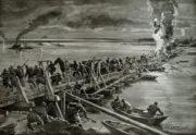 Do bojů proti rumunské armádě se účinně zapojily i rakousko-uherské říční monitory, když svojí palbou ničily nepřátelské pontonové mosty na Dunaji. (VHÚ Praha)