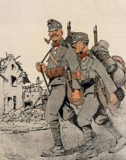 """Rakousko-uherská armáda si po debaklu, který utrpěla během Brusilovovy ofenzívy, opět užívala chuti vítězství. Svědčí o tom furiantské žerty na stránkách humoristických magazínů: """"Ti Rumuni už všechno dostávají zvenčí: od Němců krále, od Britů peníze, od Rusů vojáky – a teď výprask od nás!"""" (VHÚ Praha)"""