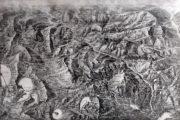 Členitý terén soluňské fronty ukazuje dobová pohledová mapa. Dohodová ofenzíva zahájená v posledních měsících roku 1916 na sebe sice poutala část bulharských sil, ale jinak Rumunům nepomohla a dosáhla jen omezeného úspěchu dobytím Monastyru (dnes Bitola). (VHÚ Praha)