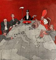 """""""Hrajte své hry, pánové!"""" obrací se krupiér na dohodové státníky na karikatuře nazvané Va banque! Rakousko-uherská propaganda vynikala v umění obracet vlastní krize v krize svých nepřátel. (VHÚ Praha)"""