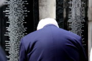Uctění památky obětí nacistického teroru před chrámem sv. Cyrila a Metoděje