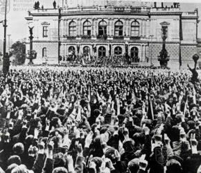 Demonstrace proti odstoupení pohraničí 22. září 1938